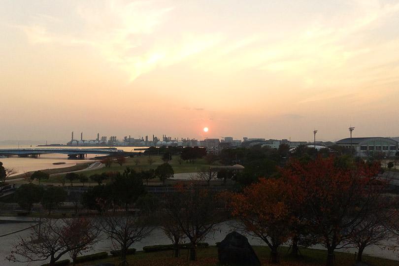 網干なぎさ公園からの夕日