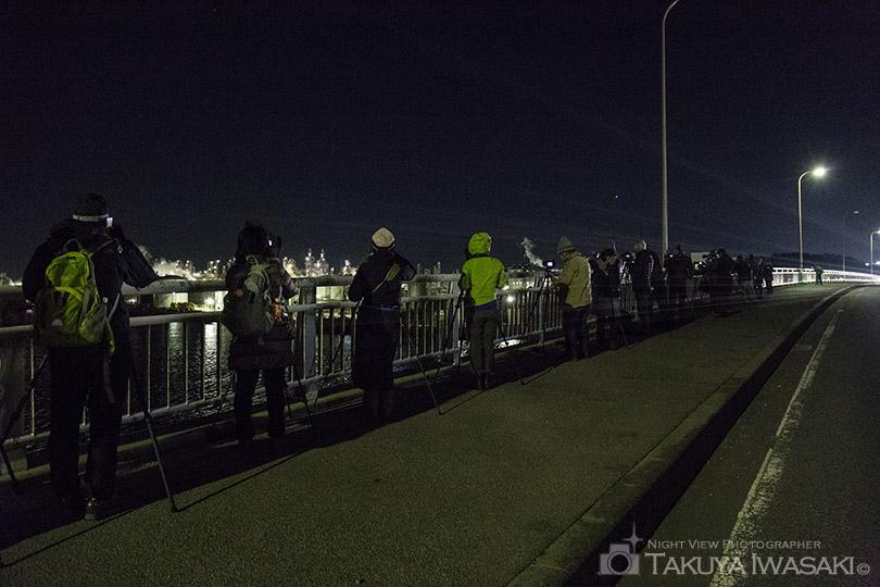 網干臨海大橋での撮影風景