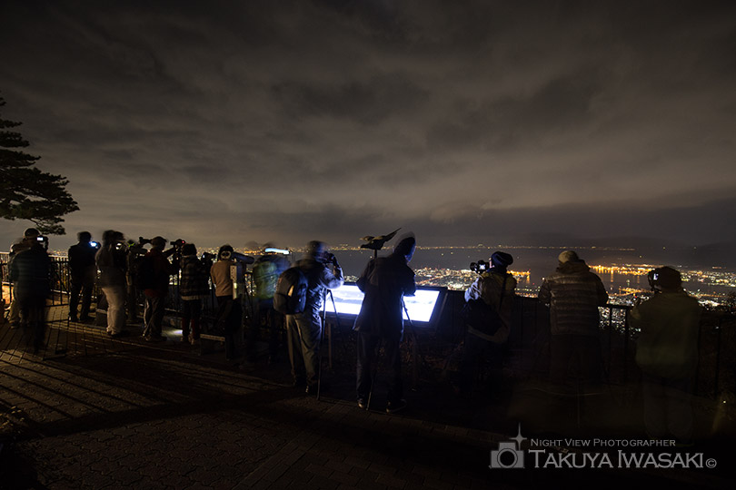 六甲山天覧台の撮影風景